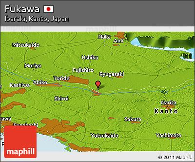Physical Panoramic Map of Fukawa