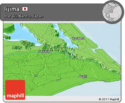 Political Panoramic Map of Iijima