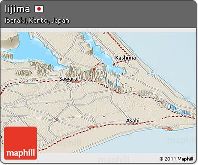 Shaded Relief Panoramic Map of Iijima