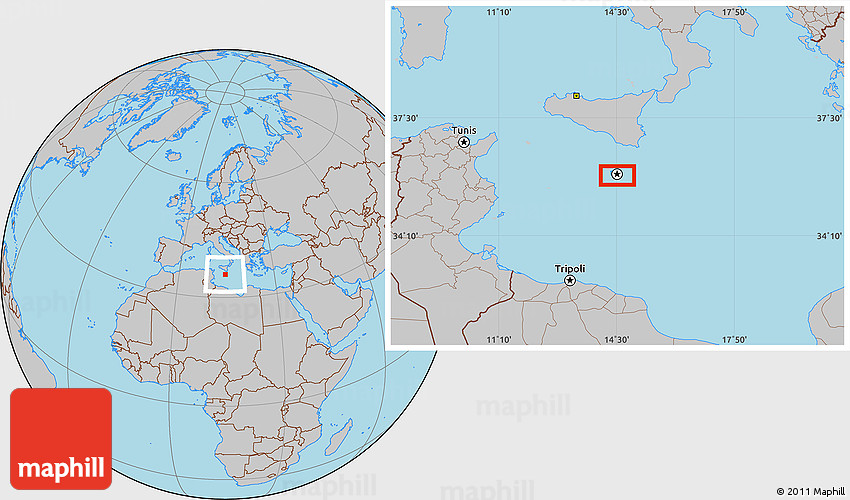 Gray Location Map of Valletta