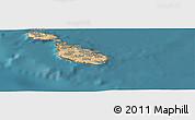Satellite Panoramic Map of Valletta