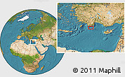 """Satellite Location Map of the area around 35°52'19""""N,29°49'30""""E"""