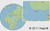 "Savanna Style Location Map of the area around 35°52'19""N,29°49'30""E"