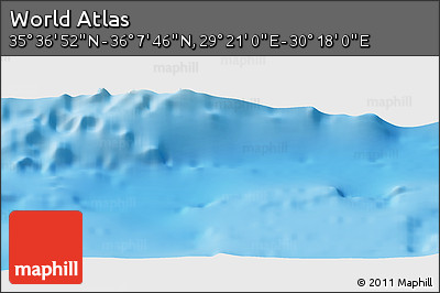 """Shaded Relief Panoramic Map of the Area around 35°52'19""""N,29°49'30""""E"""