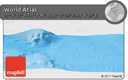 """Shaded Relief Panoramic Map of the Area around 35°52'19""""N,30°40'29""""E"""