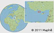 "Savanna Style Location Map of the area around 35°52'19""N,31°31'29""E"