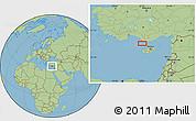 "Savanna Style Location Map of the area around 35°52'19""N,32°22'30""E"