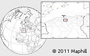 """Blank Location Map of the area around 35°52'19""""N,3°28'30""""E"""