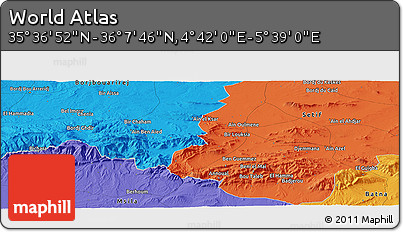 """Political Panoramic Map of the Area around 35°52'19""""N,5°10'30""""E"""