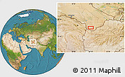 """Satellite Location Map of the area around 35°52'19""""N,62°7'30""""E"""