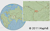 """Savanna Style Location Map of the area around 35°52'19""""N,62°7'30""""E, hill shading"""