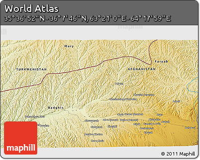 """Physical 3D Map of the Area around 35°52'19""""N,63°49'30""""E"""