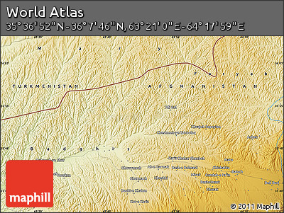 """Physical Map of the Area around 35°52'19""""N,63°49'30""""E"""