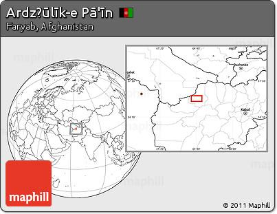Blank Location Map of Ardz̧ūlīk-e Pā'īn