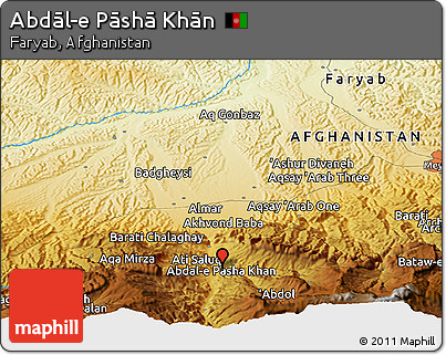 Physical Panoramic Map of Abdāl-e Pāshā Khān