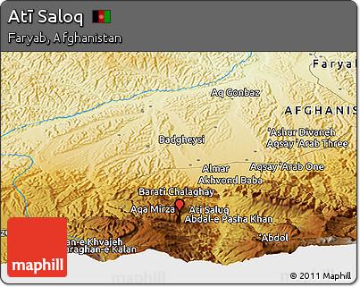 Physical Panoramic Map of Atī Saloq
