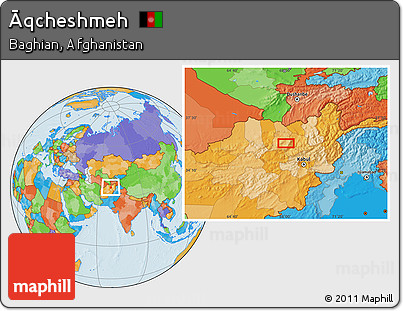 Political Location Map of Āqcheshmeh