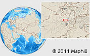"""Shaded Relief Location Map of the area around 35°52'19""""N,68°55'30""""E"""
