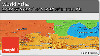 """Political Panoramic Map of the Area around 35°52'19""""N,6°1'30""""E"""