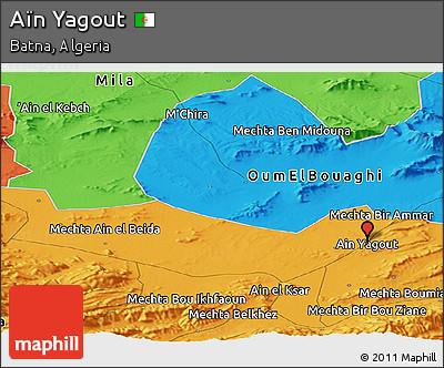 Political Panoramic Map of Aïn Yagout