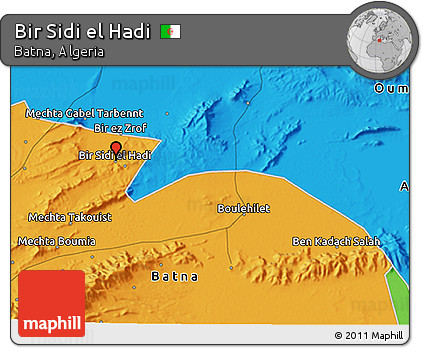 Political 3D Map of Bir Sidi El Hadi