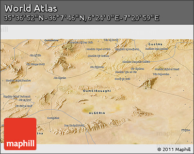 """Satellite 3D Map of the Area around 35°52'19""""N,6°52'30""""E"""