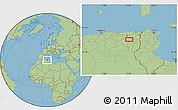 "Savanna Style Location Map of the area around 35°52'19""N,6°52'30""E"