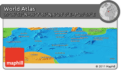 """Political Panoramic Map of the Area around 35°52'19""""N,6°52'30""""E"""