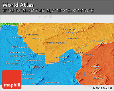 """Political 3D Map of the Area around 35°52'19""""N,7°43'29""""E"""