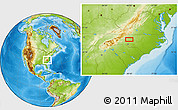 """Physical Location Map of the area around 35°52'19""""N,80°40'30""""W"""