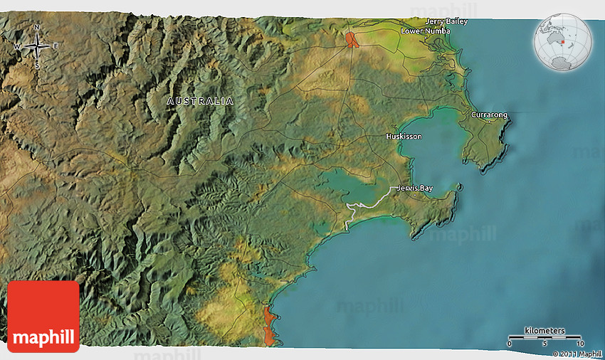 Australia Map Jervis Bay.Satellite 3d Map Of Jervis Bay