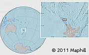 Gray Location Map of Kawakawa, hill shading