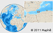 """Shaded Relief Location Map of the area around 36°19'55""""N,0°46'30""""W"""