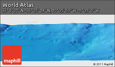 """Physical Panoramic Map of the Area around 36°19'55""""N,10°7'30""""W"""
