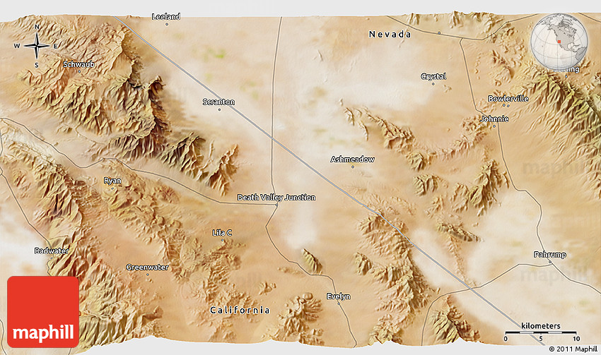 Satellite 3D Map of Death Valley Junction