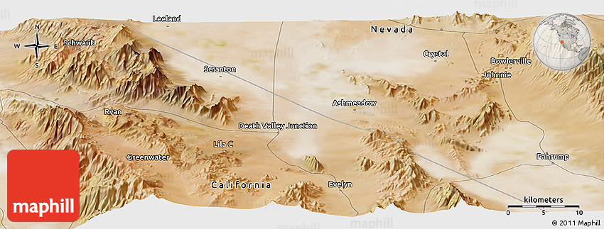 Satellite Panoramic Map of Death Valley Junction