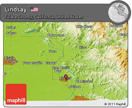 Lindsay California Map.Free Physical Panoramic Map Of Lindsay