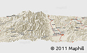 """Shaded Relief Panoramic Map of the area around 36°19'55""""N,137°46'30""""E"""