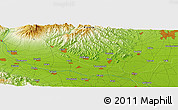 "Physical Panoramic Map of the area around 36° 19' 55"" N, 139° 28' 29"" E"