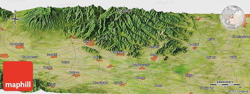 Satellite Panoramic Map Of Isesaki - Isesaki map