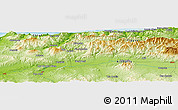 "Physical Panoramic Map of the area around 36° 19' 55"" N, 1° 46' 29"" E"