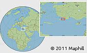 "Savanna Style Location Map of the area around 36°19'55""N,28°58'30""E"