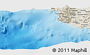 "Shaded Relief Panoramic Map of the area around 36° 19' 55"" N, 28° 58' 30"" E"