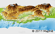"""Physical Panoramic Map of the area around 36°19'55""""N,29°49'30""""E"""