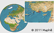 """Satellite Location Map of the area around 36°19'55""""N,30°40'29""""E"""
