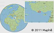 "Savanna Style Location Map of the area around 36°19'55""N,30°40'29""E"