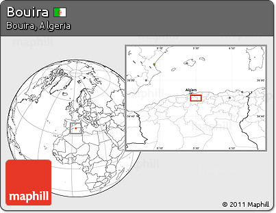 Blank Location Map of Bouira
