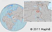 Gray Location Map of Arbīl, hill shading