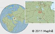 Savanna Style Location Map of Arbīl, hill shading