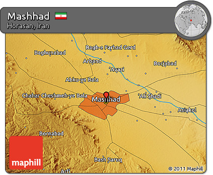 Free Physical 3D Map of Mashhad